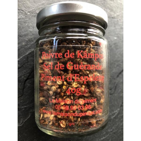 Poivre de Kâmpot piment d'Espelette et sel de Guérande