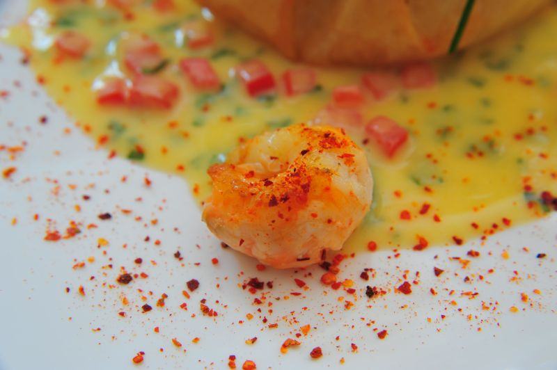 Aumoniere de langoustine au piment d espelette - zoom