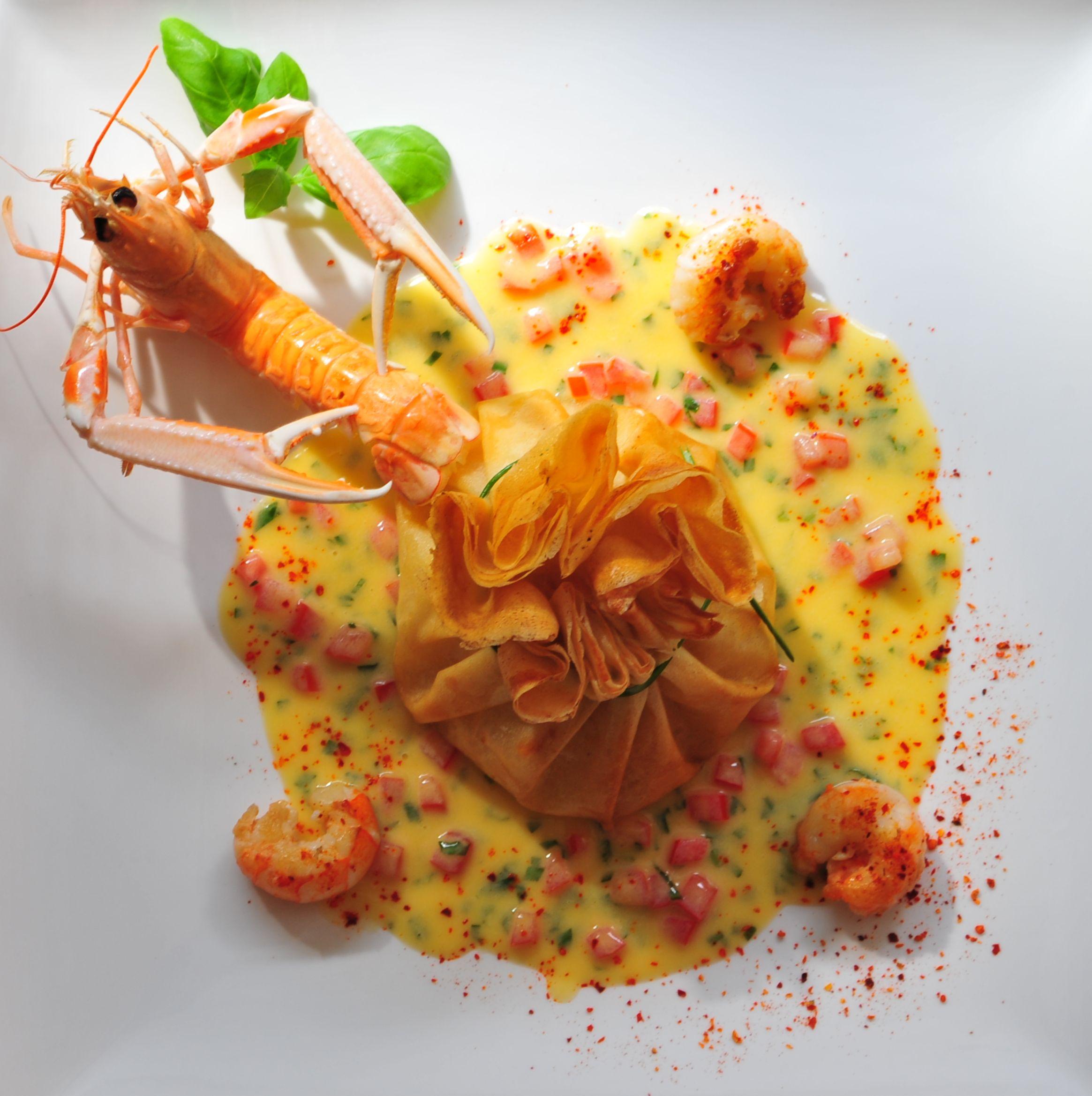 Aumoniere de langoustine au piment d espelette - Dessus