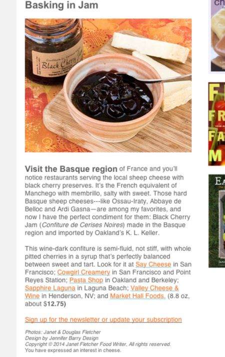 Confiture de Cerises Basques au Canada
