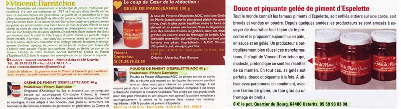 Vincent Darritchon, producteur de Piment d'Espelette dans la presse